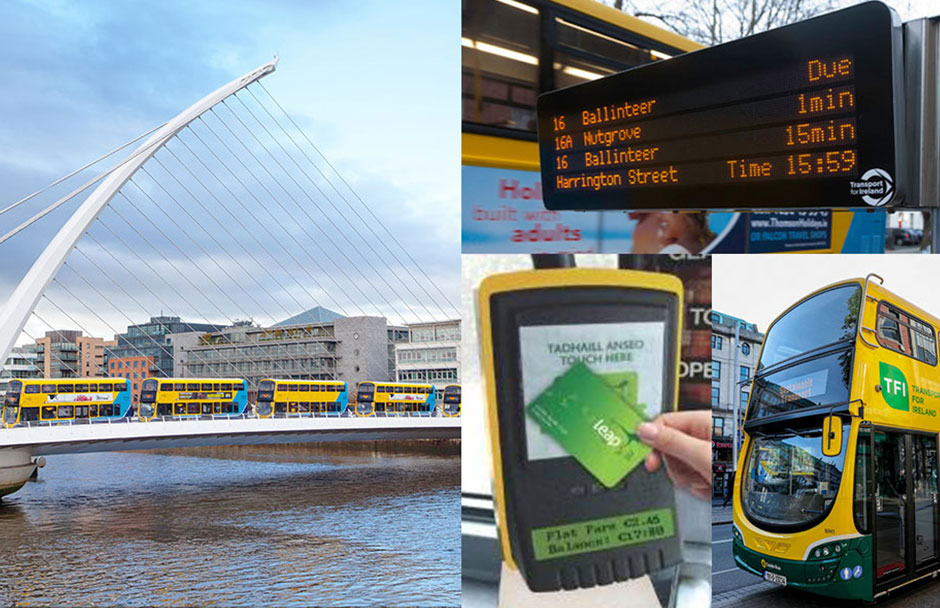 Leap card machine, real time information. dublin buses driving over samuel beckett bridge and hybrid bus